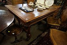 Antique French parquetry top carved oak draw leaf dining table