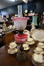 Vic brass & h/painted pink glass banquet kero lamp
