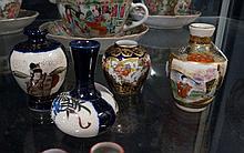 3 miniature Japanese satsuma vases & C/Staffordshire h/painted mini vase