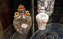 2 Chinese ceramic & glass h/painted scent bottles