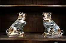 Pr rare large Staffordshire Pug dogs with glass eyes