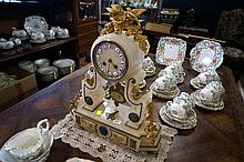 Victorian white marble & gilded mantle clock