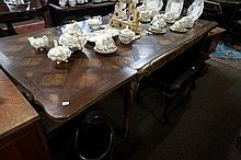 French carved oak & parquetry top draw leaf dining table