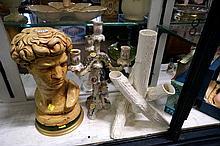 Continental cherub candleabra, log vase & bust of David