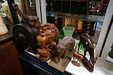 African elephant dinner gong & other wooden animals