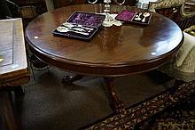 Vic cedar drum edge tilt top round dining table