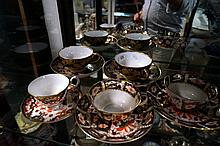 3 R/Crown Derby imari cups & saucers, 1 a/f & pr Vic Derby gilt & blue cups & saucers