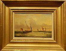 Charles Louis Verboeckhoven:  Marine Scene With Masted Ships