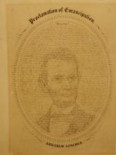 Lithograph: Calligraphic Portrait Of Abraham Lincoln 1865