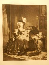 Royal Family: Woman and Children Antique Prang Lithograph