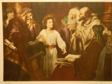 Christ In The Temple by Hoffmann: Antique Prang Co. Lithograph