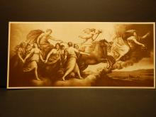 A God In A Chariot With Maidens: Antique Prang Co. Lithograph