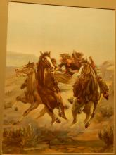 Ed Horsky: Wild West Cowboy Rescues A Lady, Color Lithograph