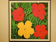 Andy Warhol: Flowers (Red) Silk Screen Poster
