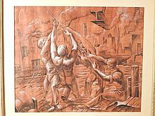 Howard Besnia: Construction Workers Gouache Painting