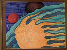 Howard Besnia: Comet, Abstract 1989 Pastel