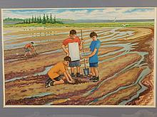Howard Besnia:  Clam Diggers, Watercolor 2006