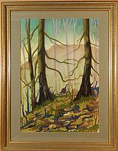 Howard Besnia: Forest With Turkeys, Pastel