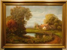 Landscape With Country Home, Oil