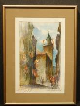 Salzburg Street Scene, 1939 Watercolor