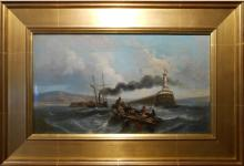Sautini: Antique Oil Painting Steam Powered Tall Ship In French Harbor