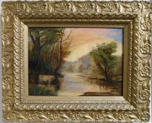 American Tonalist Sunset Oil Painting With Cow At Stream