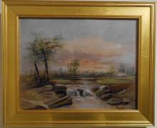 American Tonalist/Barbizon Rural Sunset Oil Painting