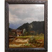 Rare Historical 1891 Oil Painting of Grass Valley Mill