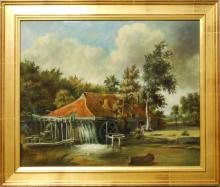 Antique c.1850 Continental Mill Oil Painting