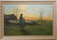 W. Piernet: Shepherd & Flock Barbizon Sunset Oil Painting