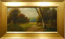 Antique American Tonalist Oil Painting Forest Landscape