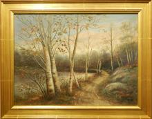 White Mountain School: Landscape With Road and Birch Trees, c.1880
