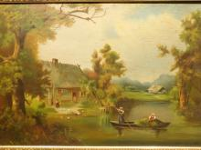 Country Landsape With Cottage, Girl and Boat, Oil c.1890