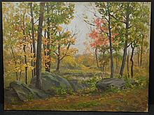 Frank Chester Perry: Autumn Woodland Landscape, Oil on Canvas