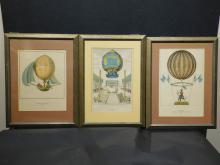 Three French Balloon Aviation 19th Century Prints