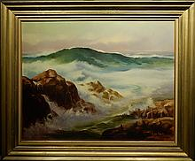 Alan King: Rocks and Surf, Oil on Board, c. 1955