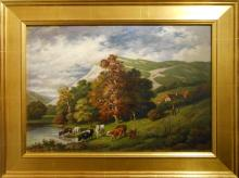 G. Sandorff: Connecticut Oil Painting With Cows v.1890