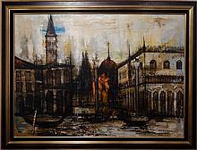 Jean Pierre Rousseau: 1966 Oil Painting Of Venice