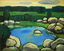 Marsden Hartley: Landscape With Rocks And Pool, Oil c. 1940