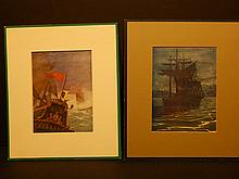 N.C. Wyeth: Two Galleon Sailing Ship Color Lithographs