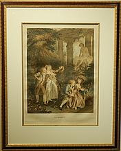 Jean Honore Fragonard: Le Serment, Hand-Colored Engraving