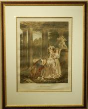 Jean Honore Fragonard: La Declaration, Hand-Colored Engraving