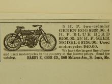 Geer  Motorcycle Ad 1910