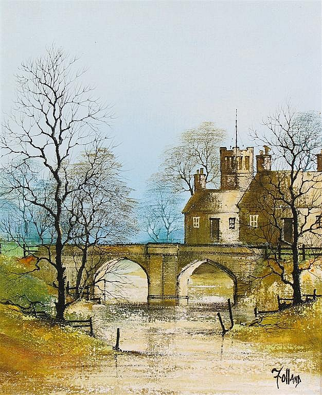 Ron Folland (1932-1999) Bridge across the river