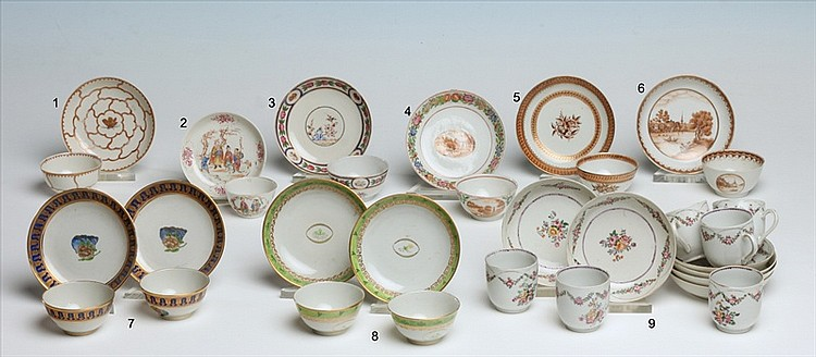 SIX CHINESE EXPORT PORCELAIN CUPS AND SAUCERS