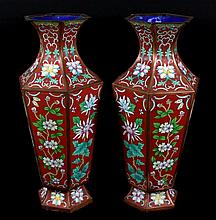 PAIR OF LARGE CLOISONNE VASES