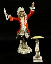 19TH C. MEISSEN MONKEY BAND CONDUCTOR AND MUSIC STAND
