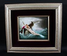 GERMAN HAND PAINTED PORCELAIN PLAQUE