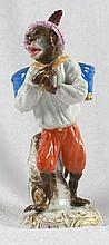 19TH C MEISSEN FIGURE OF A MONKEY WITH HAND DRUMS