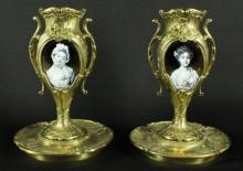 PAIR OF LIMOGES BRONZE VASES WITH ENAMEL PLAQUE INSERTS